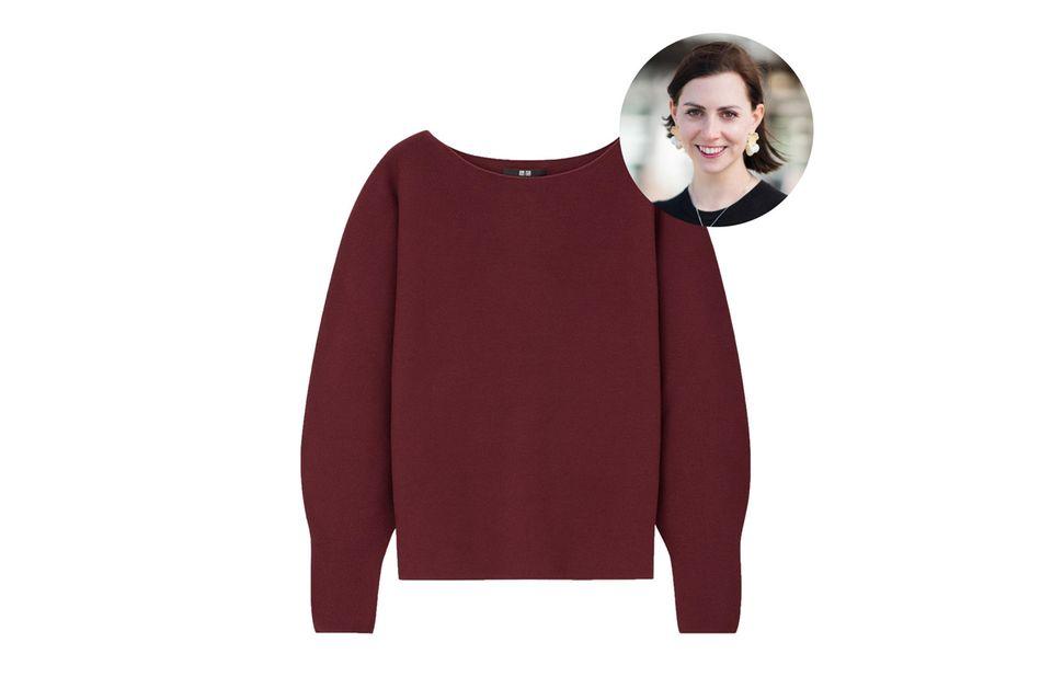 Fashion-Redakteurin Kathrin liebt hochwertige Basics. Durch den Boot-Ausschnitt erinnert der Uniqlo-Pullover sogar in klein bisschen an das Hochzeitskleid von Herzogin Meghan.