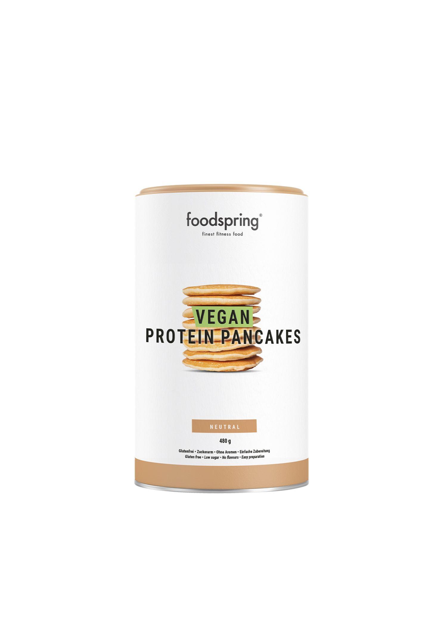 """Veganes VergnügenWenn's mal wieder schnell gehen muss, aber trotzdem gesund sein soll, sind diese Pancakes vom Fitnessexperten ein Geschenk des Himmels. """"Vegane Protein-Pancakes"""" von Foodspring, ca. 15 Euro"""