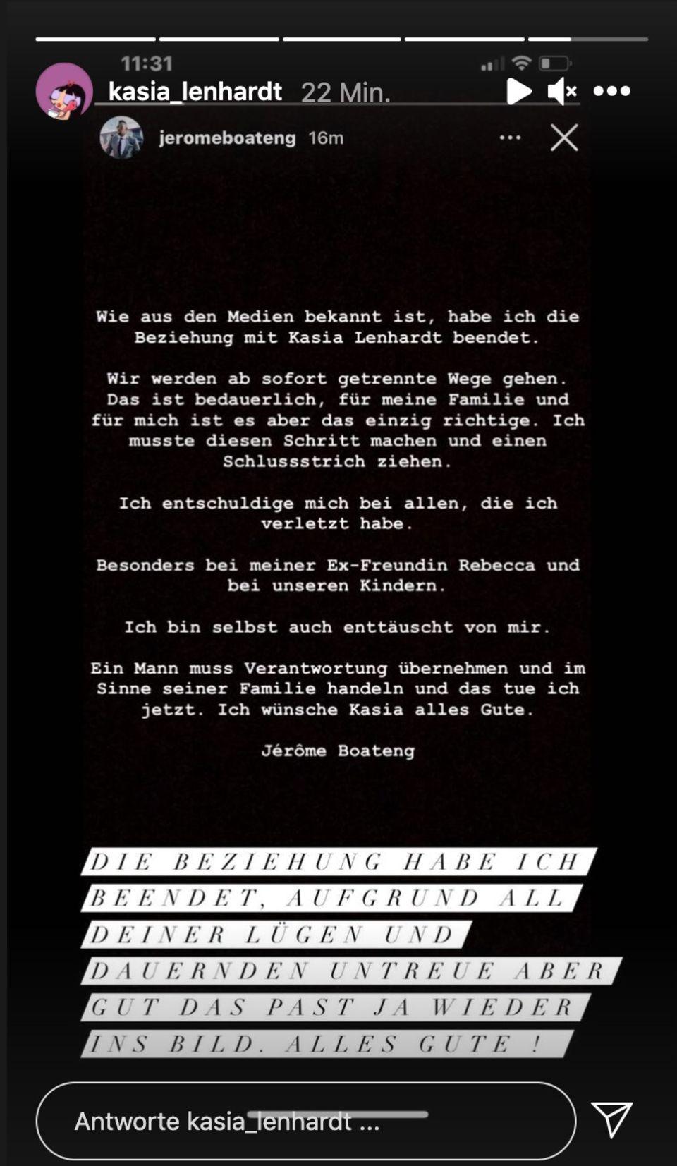 Kasia Lenhardt reagiert auf das Trennungs-Statement von Jérôme Boateng.