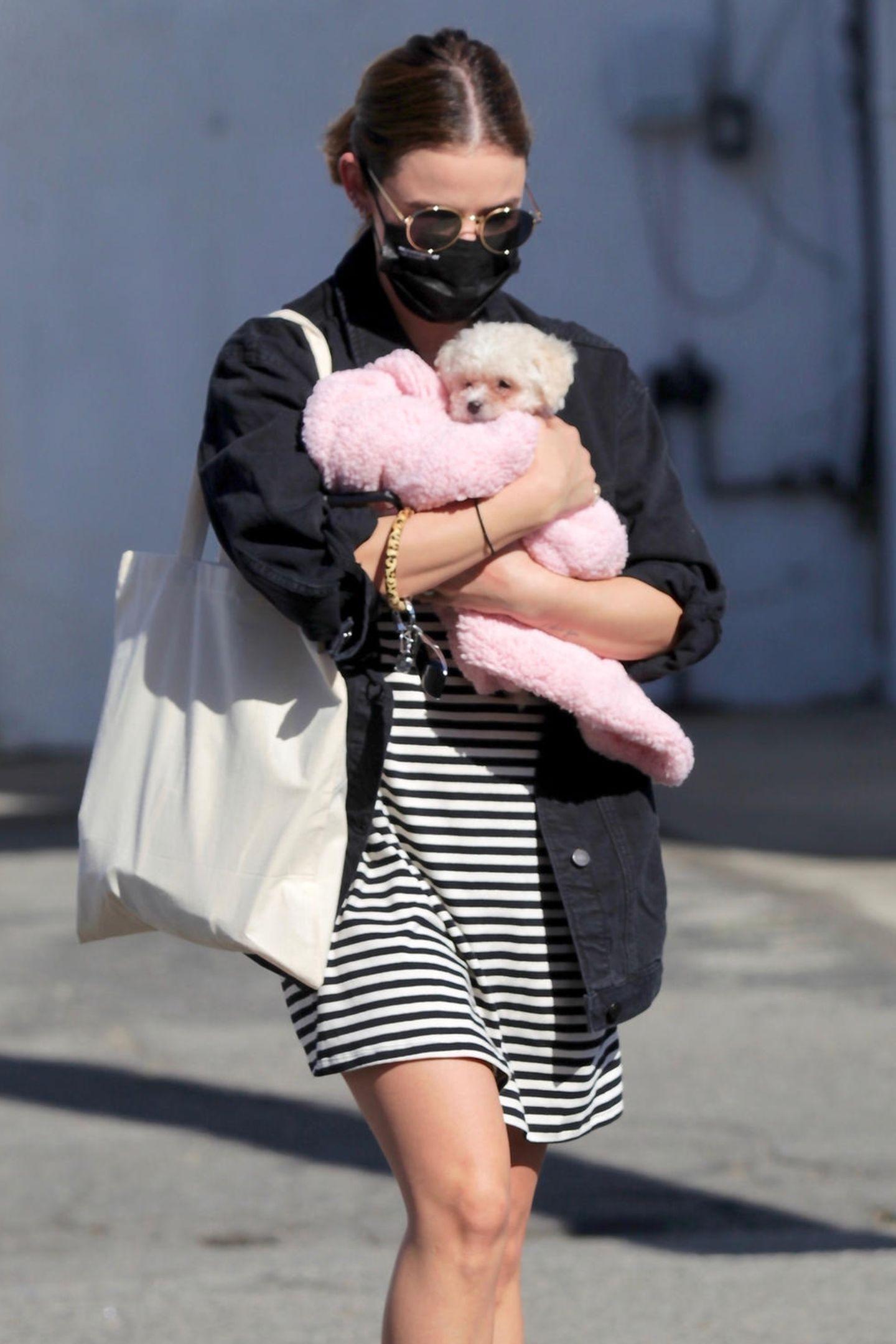 Lucy Hale hat ein Herz für Hunde. In Studio City hat die Schauspielerin einen niedlichen Welpen adoptiert, den sie behutsam in eine Decke eingewickelt auf dem Arm trägt.