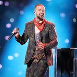 2018  Justin Timberlake sorgt mit seiner Halbzeitshow im Camouflage-Anzugbeim 52. Super Bowl imU.S. Bank Stadiumin Minneapolis Minnesota für gute Laune.