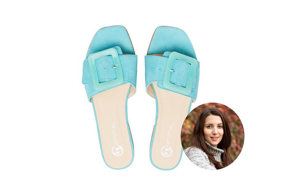 Moderedakteurin Ilka liebt farbenfrohe Slides. Sie sind bequem und eine stylischeAlternative zu Flip-Flops.