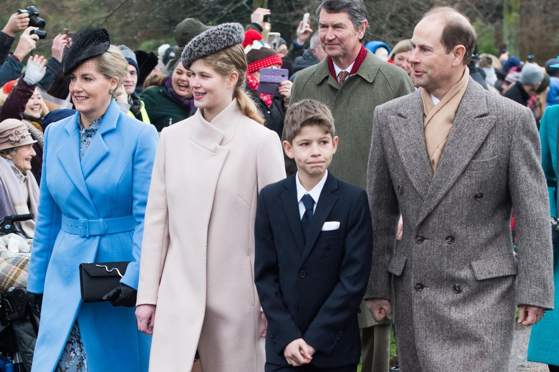 Die Familie Wessex (v.l.n.r.): Gräfin Sophie, Lady Louise, James, Viscount Severn, und Prinz Edward