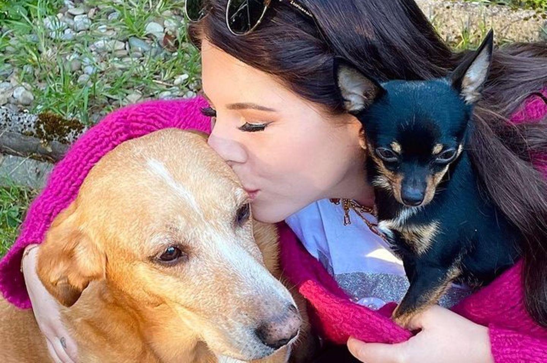 Jenny Frankhauser mit ihren Hunden