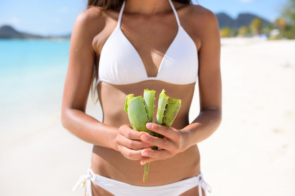 Aloe-vera-Gel: Anwendung und Wirkung der besten Produkte; junge Frau am Strand mit Aloe vera in der Hand