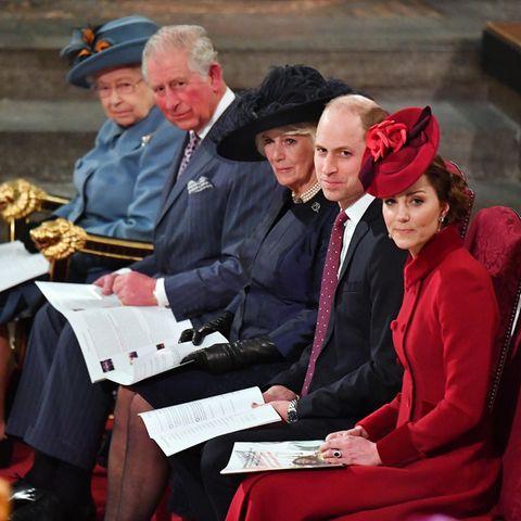 Die britischen Royals beim Commonwealth-Day-Service im März2020, vor dem Ausbruch des Coronavirus'. Dieses Jahr finden die Festivitäten unter strengen Corona-Schutzmaßnahmen statt.