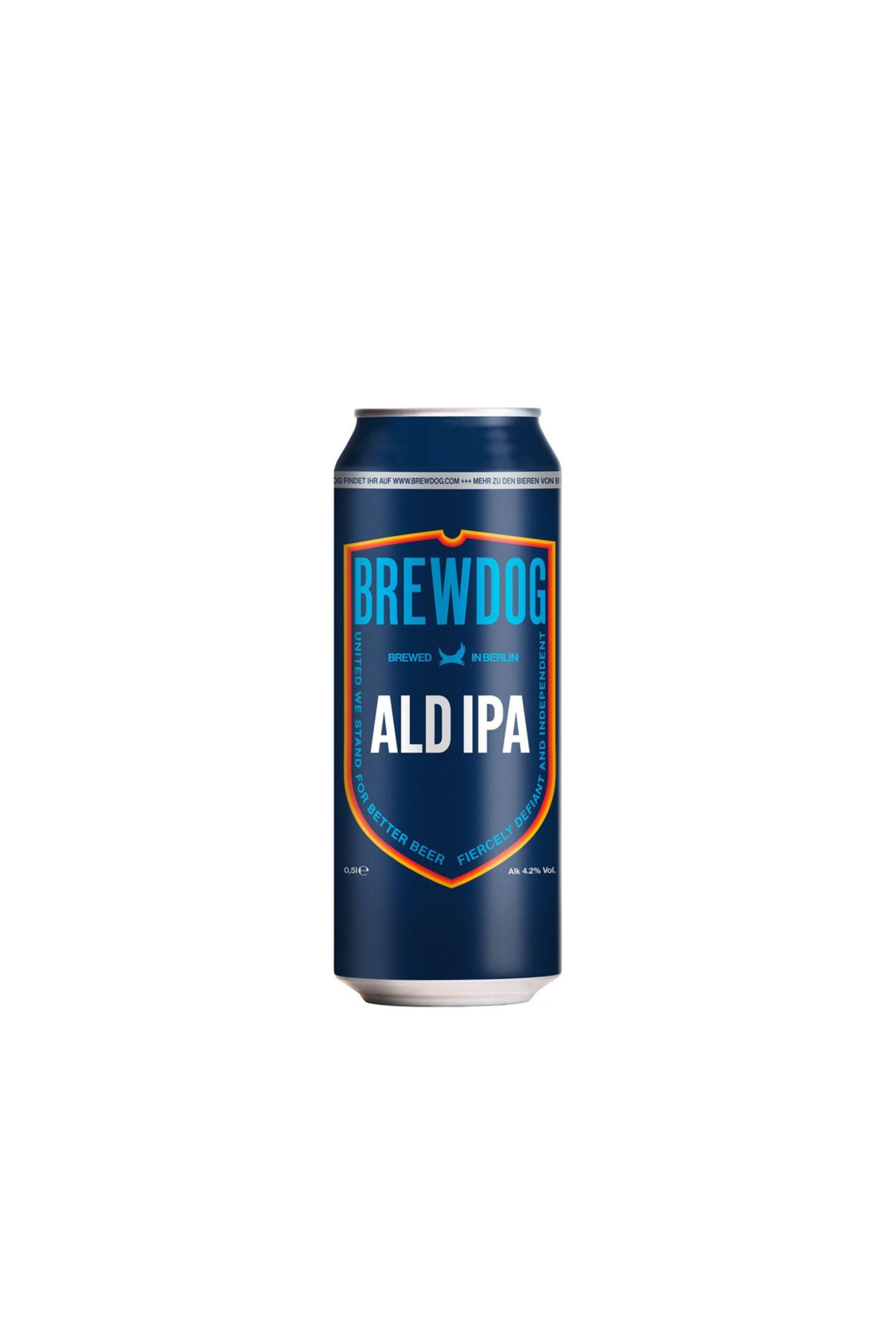"""Genialer CoupNur Original ist Original: Der schottische Craft-Beer-Liebling braut exklusiv für Deutschlands Discounterriesen sein fantastisches IndiaPale Ale. """"ALD IPA"""" von BrewDog, ca. 1,30 Euro (erhältlich ab 12.März bei Aldi Süd, limitiert)"""