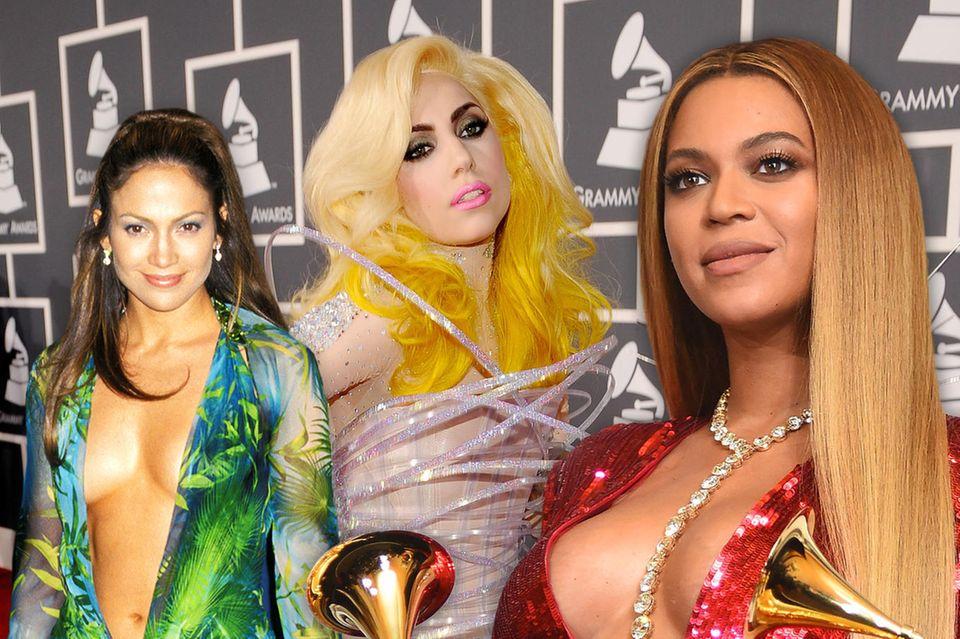 Die unvergesslichsten Looks der Grammy Awards mitJ.Lo, Lady Gaga, Beyoncé undCo.