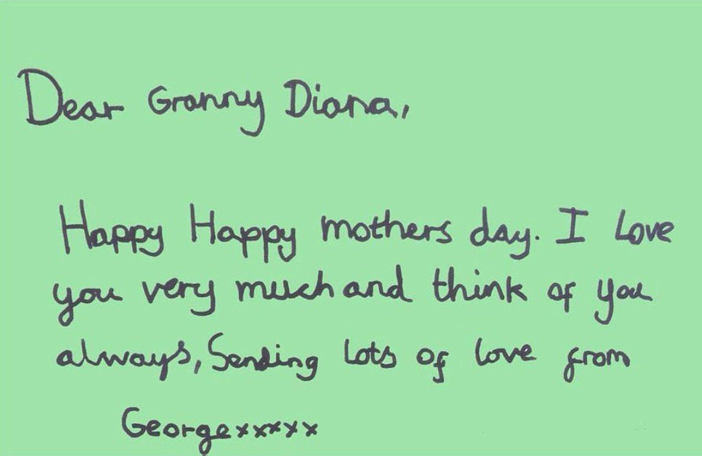"""Prinz George schreibt, wie sehr er seine """"Granny Diana"""" liebt und immer an sie denkt."""