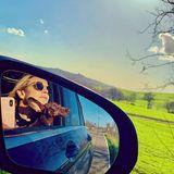 Auf ihrem Roadtrip durch Italien lassen sich Dackel Ciro und FrauchenElisabeth von Thurn und Taxis den Fahrtwind um die Ohren wehen und genießen die Freiheit.