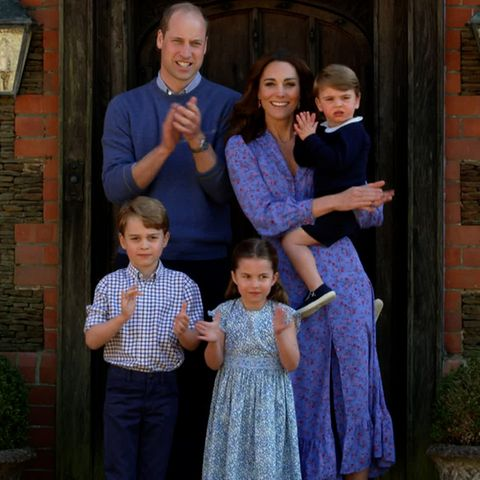 Prinz William, Herzogin Catherine, Prinz George, Prinzessin Charlotte und Prinz Louis
