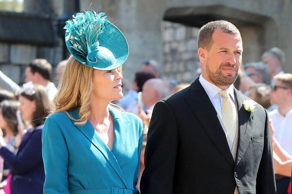 Autumn Phillips und Peter Phillips bei der Hochzeit von Herzogin Meghan und Prinz Harry am 19. Mai 2018.