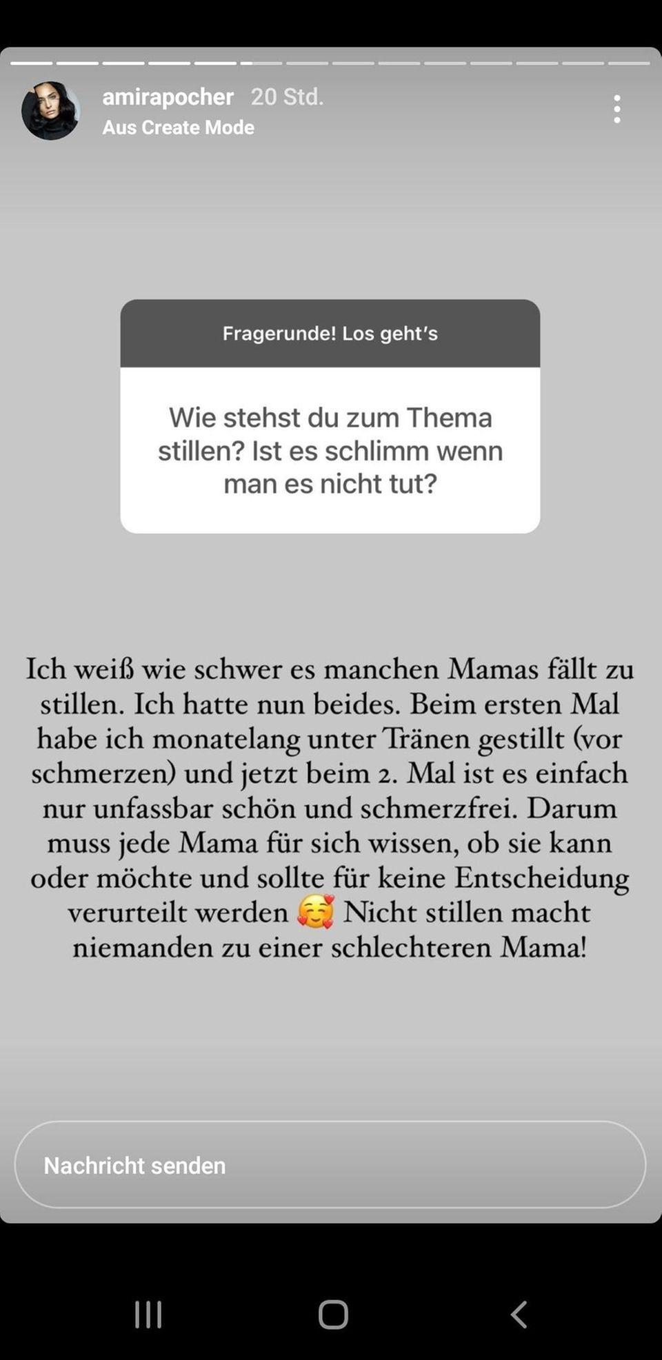 Amira Pochers Antwort auf Instagram zu der Frage, ob es okay ist, sein Kind nicht zu stillen.