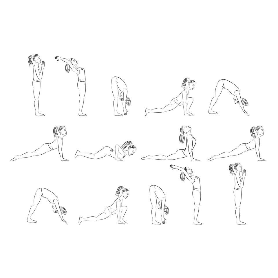 Entspannungsübungen: Frau macht Übungen des Sonnengrußes