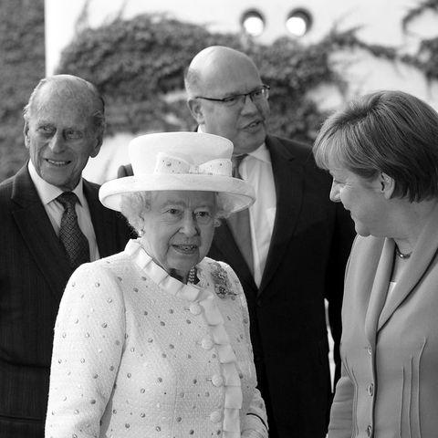 Prinz Philip (†99), Queen Elizabeth, Peter Altmaier, Angela Merkel (v.l.n.r.)