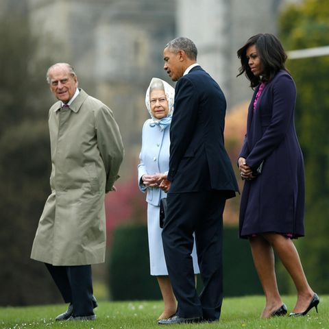 Prinz Philip (†99), Queen Elizabeth, Barack und Michelle Obama (v.l.n.r.)