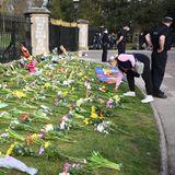 Das Blumenmeer vor den Toren von Schloss Windsor wächst stündlich. Viele Menschen kommen an den Ort, an dem Prinz Philip starb, um zu trauern.