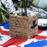 """""""Lieber Prinz Philip, heute wird der Himmel strahlen – vor allem nachts"""", schreiben Trauerndeauf den Blumentopf einer Orchidee, die sie zum Buckingham Palast bringen."""