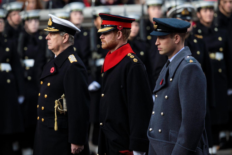 Prinz Andrew, Prinz Harry und Prinz William allesamt uniformiert am Remembrance Sunday in London im November 2017