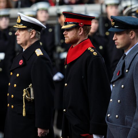Prinz Andrew, Prinz Harry und Prinz William allesamt uniformiert am Remembrance Sunday in London im November 2017