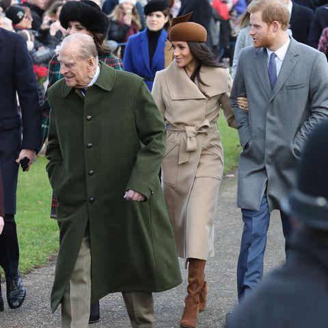 Prinz Philip, Herzogin Meghan und Prinz Harry.