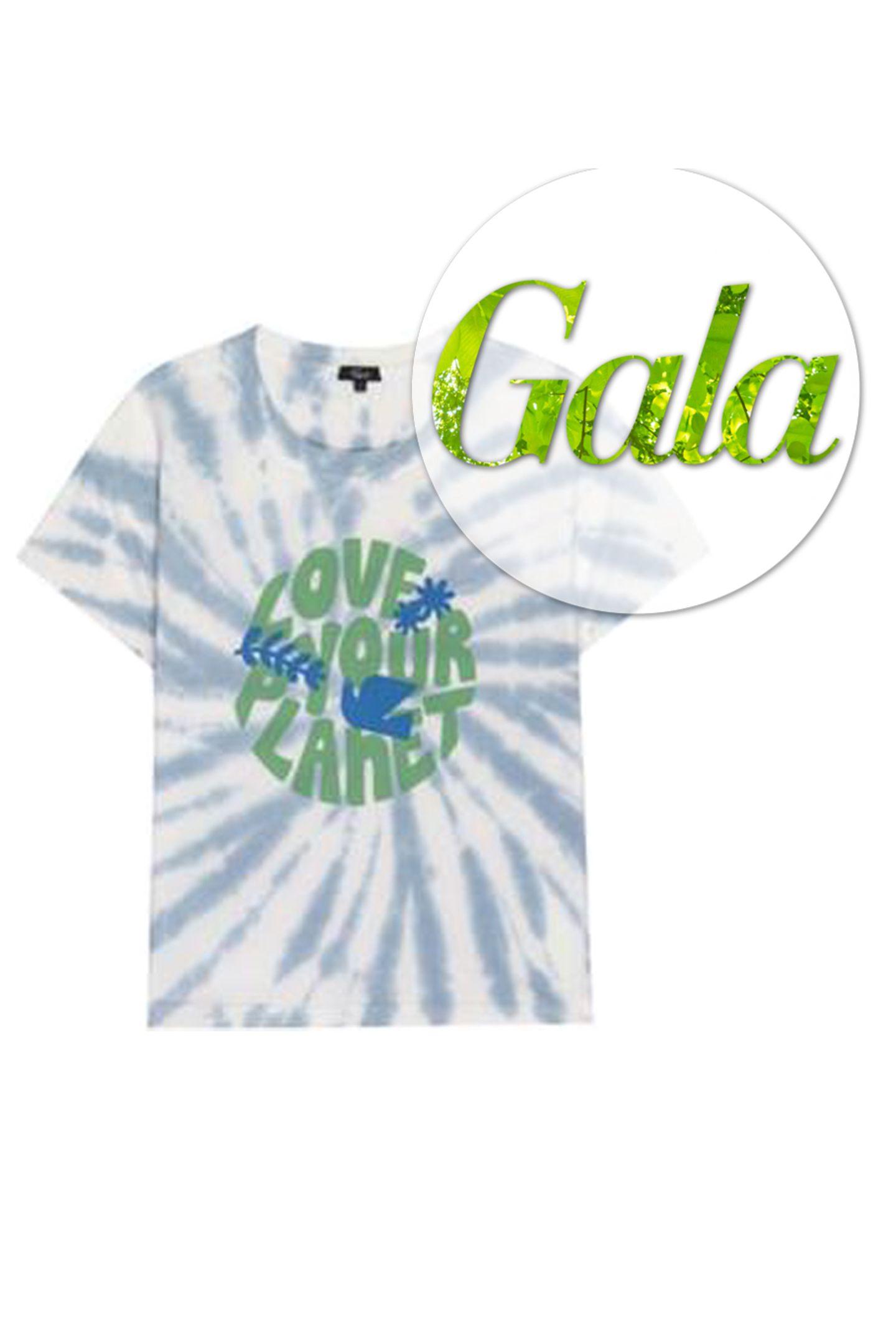 """Der Monat April steht ganz imZeichen unserer Erde. Anlässlich dessen hat sich das Modelabel Rails etwas besonderes überlegt.Das Rundhals T-Shirt im Tie Dye-Look ziert ein plakativer """"Love your Planet""""-Print und besteht zu 100 Prozentaus recycelter Baumwolle. Und das Beste: Rails spendet für jedes verkaufte T-Shirt 25 Prozentdes Umsatzes an die gemeinnützige Organisation """"Surfrider Foundation"""", die sichweltweit für den Schutz von sauberen Ozeanen und Stränden einsetzt. Von Rails, kostet 88 Euro."""