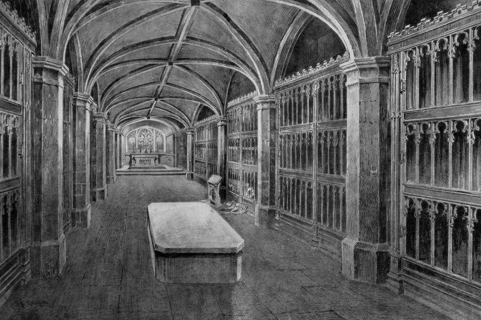 """Das königliche Gewölbe (""""Royal Vault"""")unter der St. George's Kapelle. Hier auf einer Zeichnung aus dem Jahr 1910."""