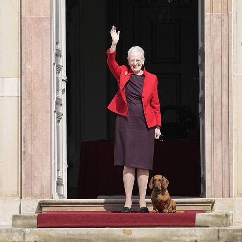 Zum 81. Geburtstag zeigt sich Königin Margrethe in Fredensborg mit einem großen Lächeln auf den Lippen. Dabei trägt das dänische Königsoberhauptein Etuikleid in der Farbe Lila und kombiniert dazu eine roteBlazerjacke. Besonders niedlich: Auch Dackeldame Tillia darf mit auf die Schlosstreppe zum Geburtstagswinken.
