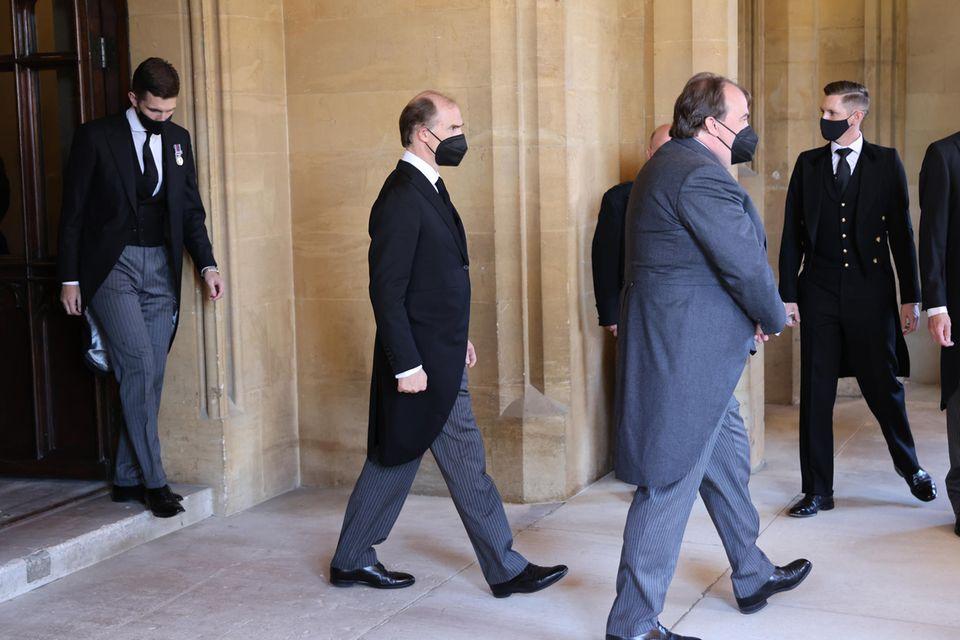 Erbprinz Bernhard von Baden, Prinz Heinrich Donatus und Prinz Philipp von Hohenlohe-Langenburgwerden am 17. April 2021 auf Windsor fotografiert.
