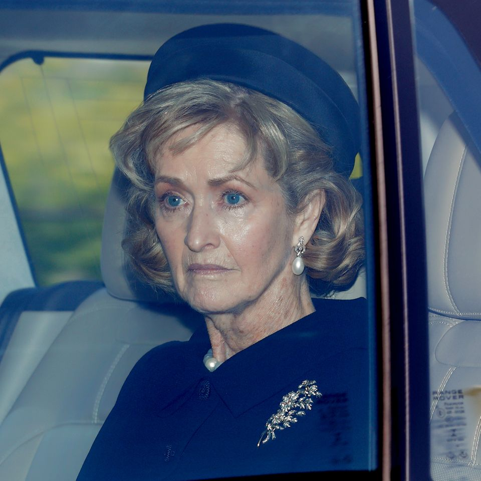 PenelopeKnatchbull auf dem Weg zur Beisetzung von Prinz Philip auf Schloss Windsor.