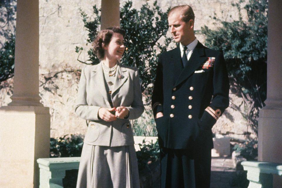Queen Elizabeth und Prinz Philip in Malta 1947.