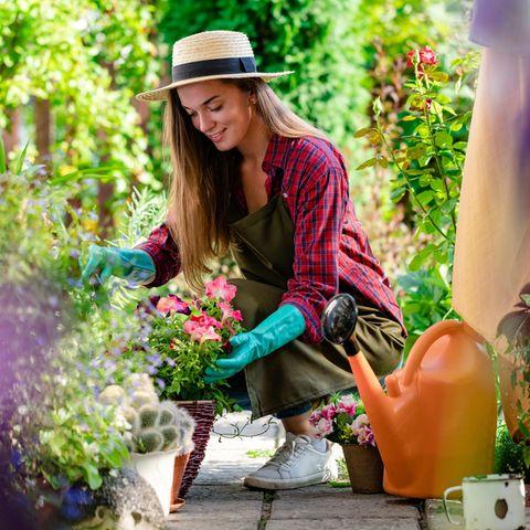 Garten, Gartenarbeit, junge Frau am Gärtnern, bunte Blumen