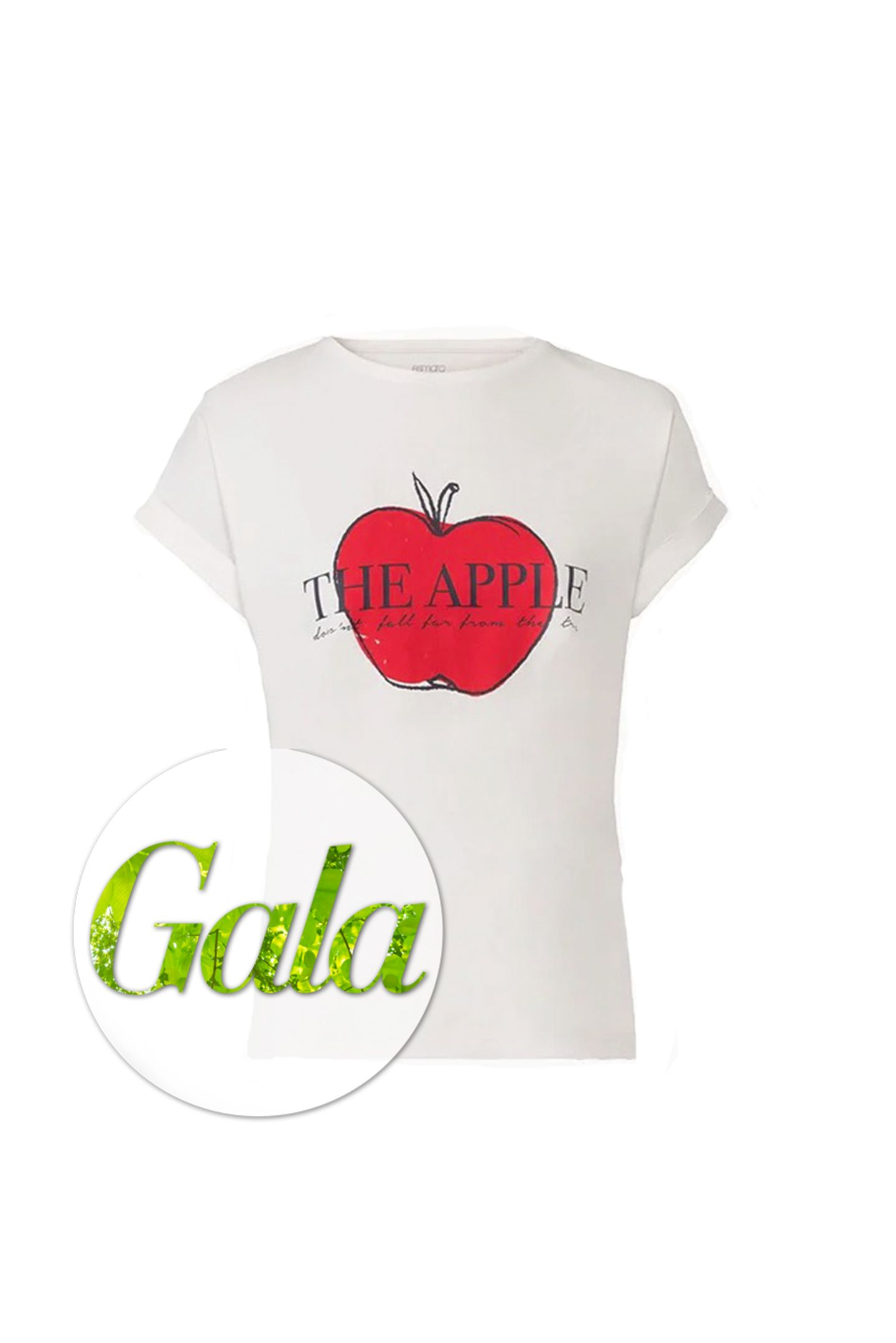 """Lidl hat zusammen mit Model Barbara Meier eine nachhaltige Kollektion herausgebracht. Die Kleidungsstücke zeichnen sich vor allem dadurch aus, dass sie nachhaltig,sozial und ökologisch hergestellt wurden. So auch dieses figurbetonte Shirt mit einer """"The Apple""""-Aufschrift. Von Lidl, aus der """"Grüne Knopf""""-Kollektion, ab sofort erhältlich, kostet ca.. 5 Euro."""