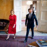 10. Mai 2021  Gut gelaunt empfängt Kronprinz Frederikdie Präsidentin der Slowakei Zuzana Čaputová auf Schloss Amalienborg in Kopenhagen.