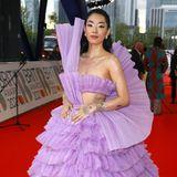 """Den wohl aufregendsten Look bei den """"BRIT Awards"""" hatRina Sawayama getragen. Die Tüllrobe von Balmain ist Glamour pur."""