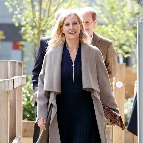 Gräfin Sophie von Wessex ist immer geschmackvoll gekleidet, so auch beim Besuch desFrimley Park Hospitals: Das plissierte dunkelblaue Kleid von ME+EM kombiniert sie zu einem drapierten Wollmantel in Beige und braunen Stiefeletten. Der Hingucker: ihre Clutch mit Leomuster.