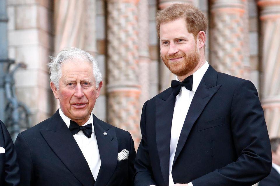 """Prinz Charles und Prinz Harry bei der Weltpremiere von """"Our Planet"""" in London am 4. April 2019"""