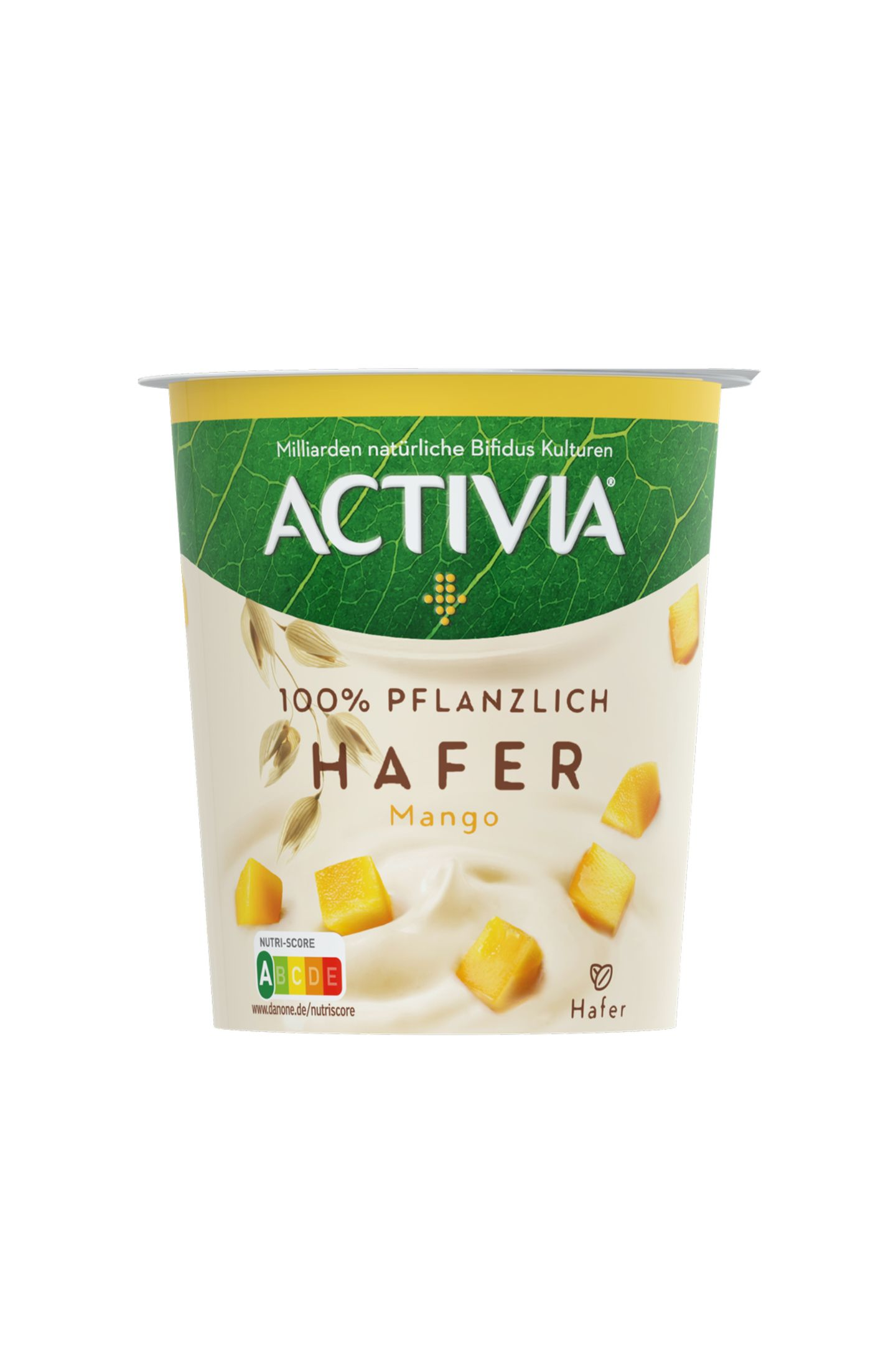 """Pflanzlicher LieblingWohltuende BifidusKulturen und der fruchtig-frische Geschmack von Mango sorgen beim kleinen Snack zwischendurch für gute Laune. """"Activia 100% Pflanzlich Hafer"""" von Danone, ca. 2 Euro (340 Gramm)"""