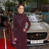 """Emilia Clarke beweist, dass Pünktchen durchaus Red-Carpet-tauglich sind. Bei der """"Rare Beasts""""-Veranstaltung in London begeistert sie in einem figurbetonten, halbtransparenten Maxikleid. Die Schuhe sind perfekt auf das Kleid abgestimmt."""