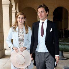 19. Oktober 2019  Bevor Prinzessin Beatrice und ihr Verlobter, Edoardo Mapelli Mozzi, 2020 selbst vor den Traualtar treten, glänzen sie auf der royalen Hochzeit von Prinz Jean-Christophe Napoleon und Gräfin Olympia von und zu Arco-Zinneberg als Hochzeitsgäste in Paris .