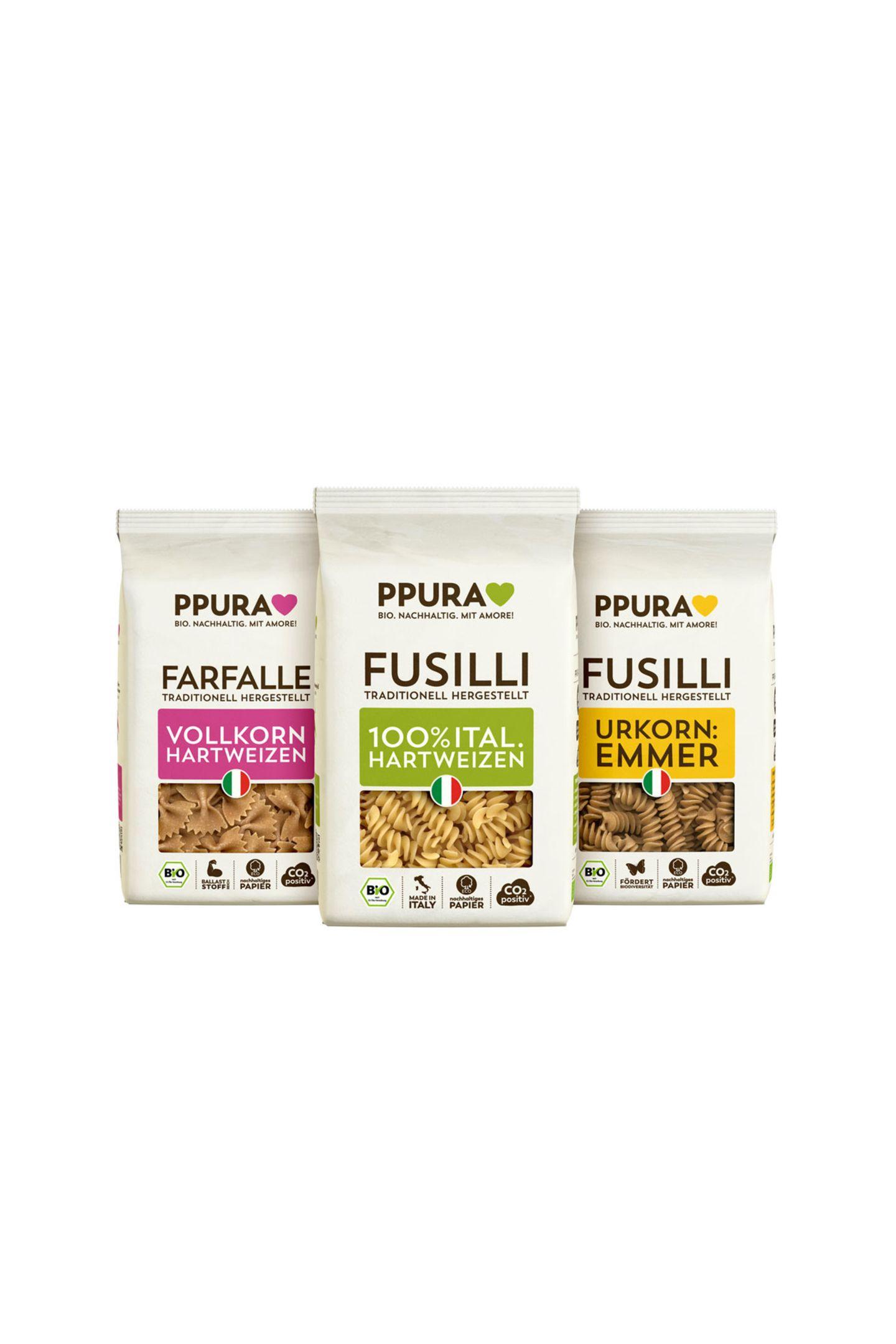 Pasta mit Passion100% Qualität, echtes Handwerk und bester Geschmack – das verspricht die Bio-Produktpalette ohne Aromen, Konservierungsstoffe, Geschmacksverstärker oder Zusätze. Pasta von Ppura, ca. 2 Euro (500 Gramm)