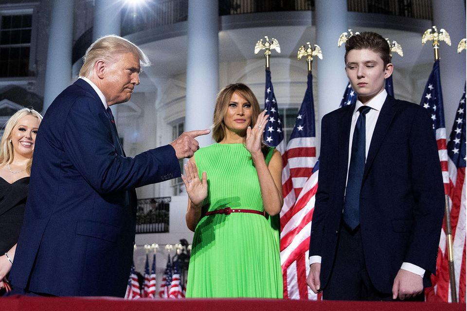 Die Familie Trump bei einem Auftritt im August 2020 vor dem Weißen Haus.