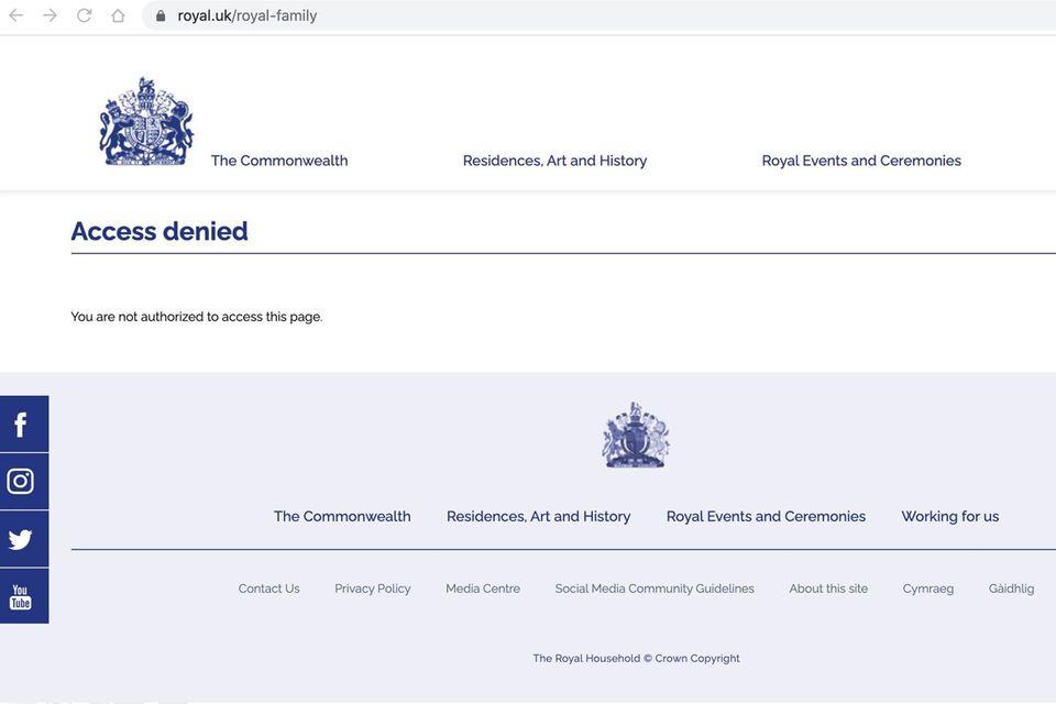 Diese (Unter-)Website der Königsfamilie ist nicht erreichbar.
