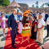 Das letzte Mal, als man Königin Máxima in dem Dress des niederländischen Designers Jan Taminia gesehen hat, war auf der 2019 während ihrer Indienreise. Damals kombiniert sie zum Sommerkleid einen ausladenden Hut, was den Look automatisch dramatischer wirken lässt.