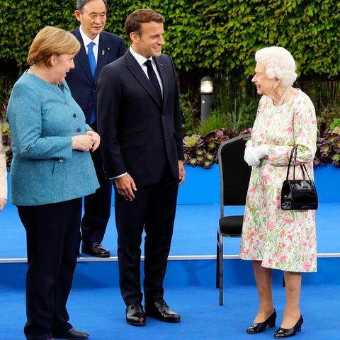 Angela Merkel,Yoshihide Suga,Emmanuel Macron und Queen Elizabeth