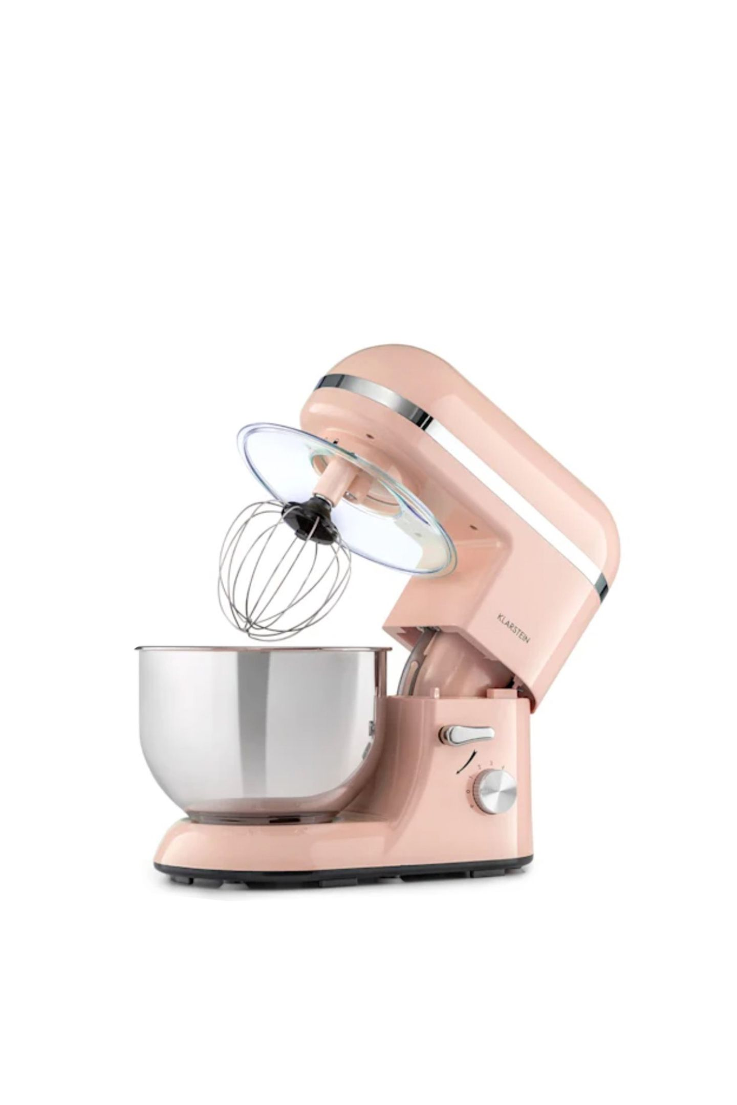 Fast zu schön, um sie zu benutzenDiese Küchenmaschine in Zartrosa ist nicht nur ein optisches Highlight. Auch ihre inneren Werte können sich sehen lassen:Mit 2000 Watt Leistung in sechsStufen schafft das Rührsystem alle Herausforderungen. Ob Brotteig, Schlagsahne oder Kuchenteig: In der 5,2-Liter-Edelstahlschüssel lässt sich mit drei Rührhaken alles perfekt vermischen. Bella Küchenmaschine, von Klarsein, kostet ca. 130 Euro.