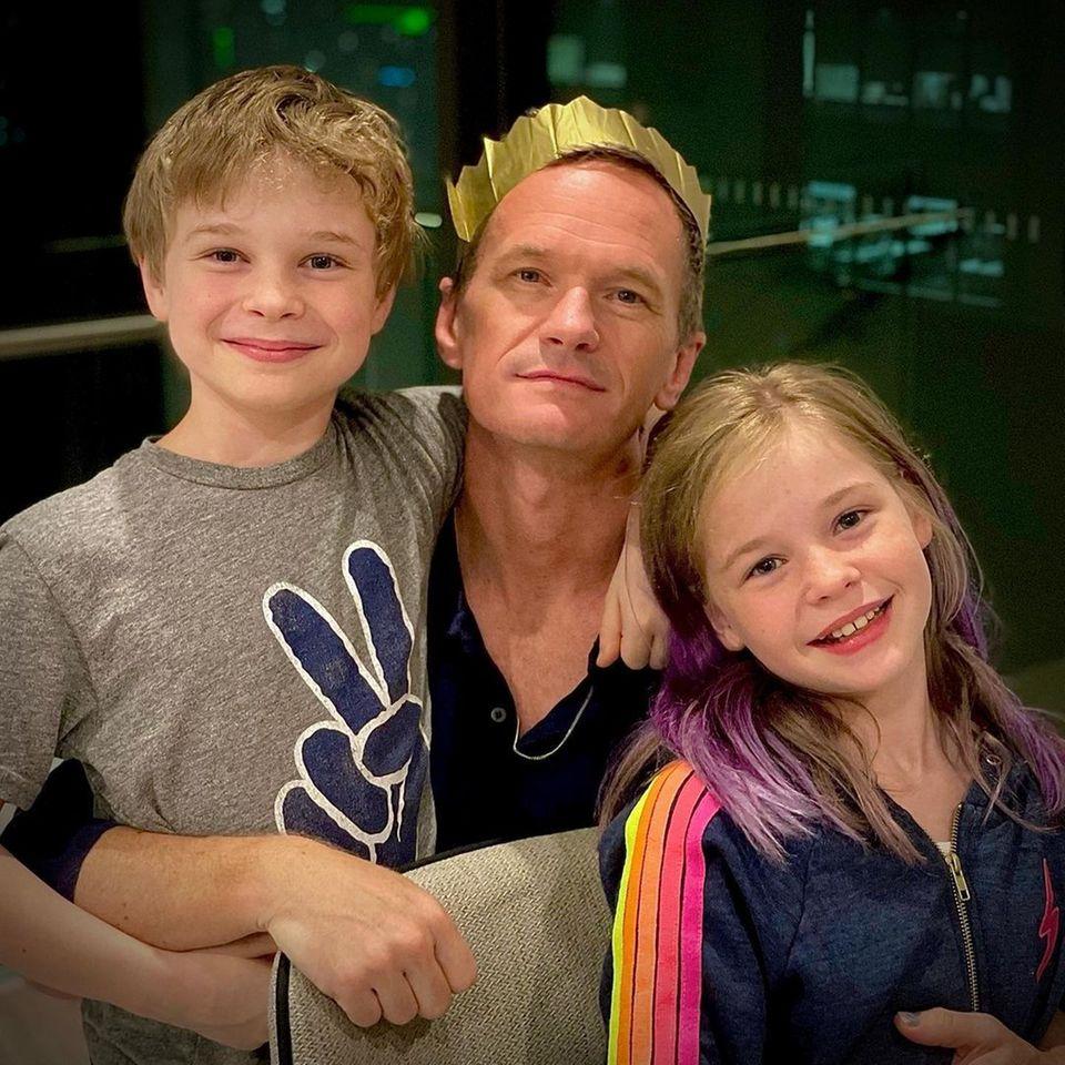 Neil Patrick Harris mit seinen Zwillingen Harper Grace und Gideon Scott