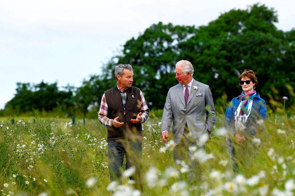 22. Juni 2021  Heute ist Prinz Charles zu Besuch aufder Modellfarm Honeydale Farm in Shipton-under-Wychwood. Charleserkundet hier dieüppigen Wiesen und Gewächshäuser des landwirtschaftlichen Fortbildungszentrums FarmEd und informierte sich über nachhaltige Landwirtschaft und Lebensmittelsysteme.