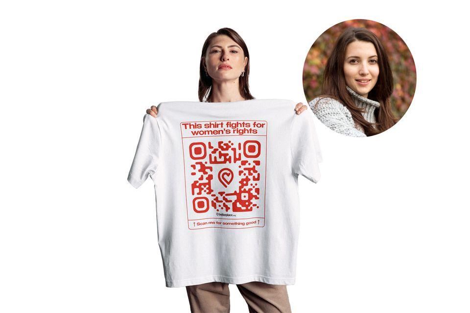 Redakteurin Ilka spendet gerne für wohltätige Zwecke, mit ihrem neuen Shirt kann sie jetzt auch andere dazu motivieren.