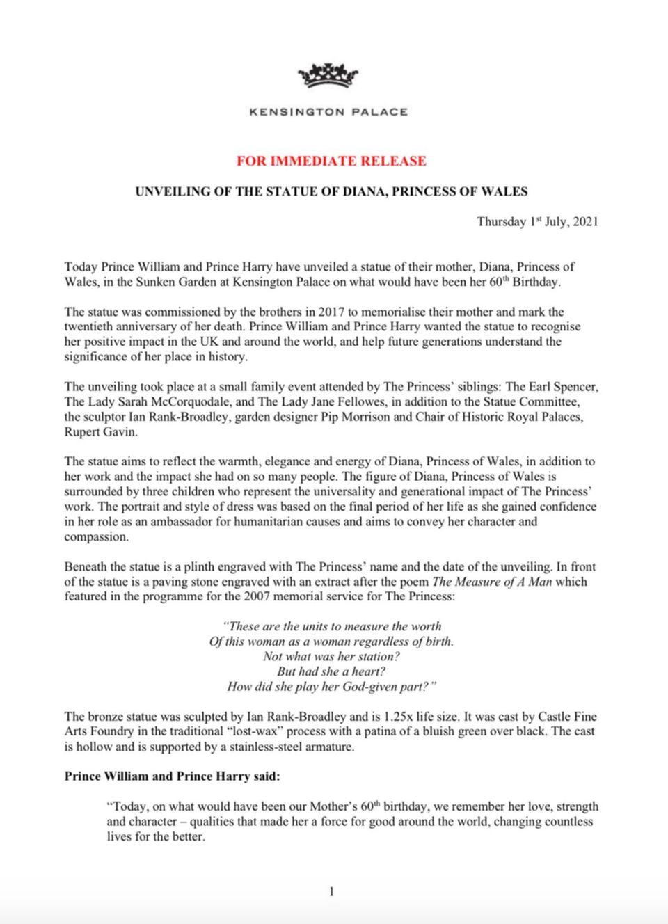 Das offizielle Statement des Palastes